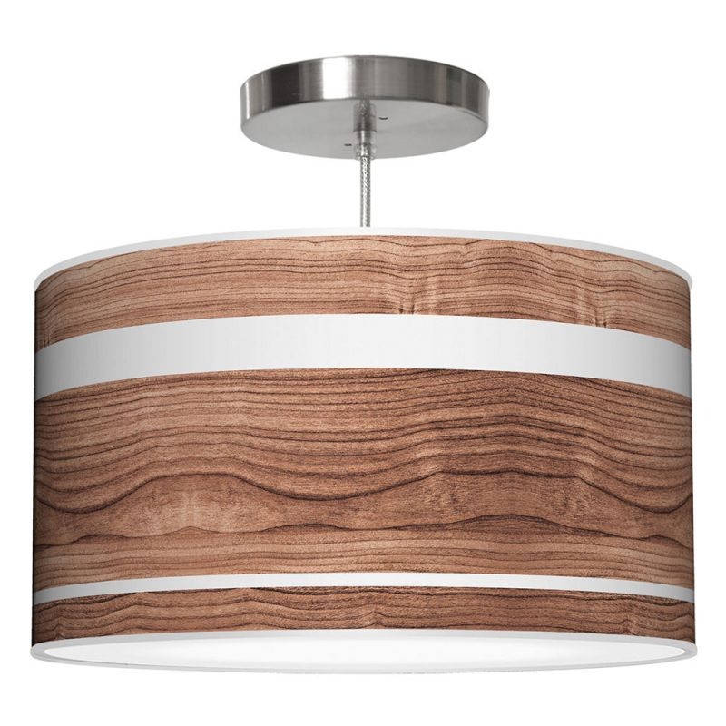 band printed drum shade pendant lamp