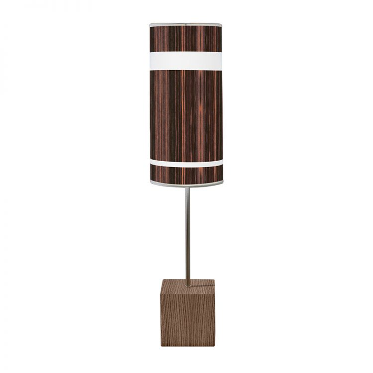 band pattern printed shade cuboid table lamp