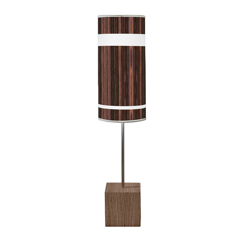 band printed shade cuboid table lamp