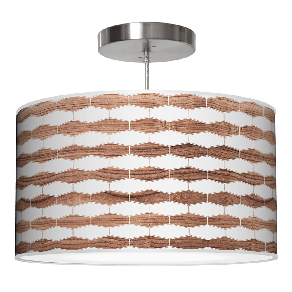 weave 3 pattern printed drum shade pendant
