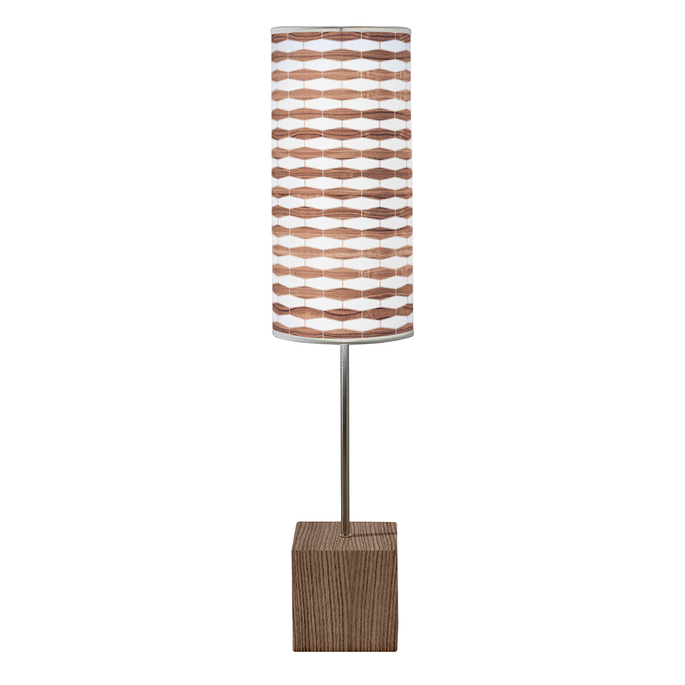 weave 3 printed linen shade cuboid table lamp