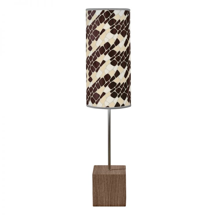 cell patterns printed shade cuboid table lamp