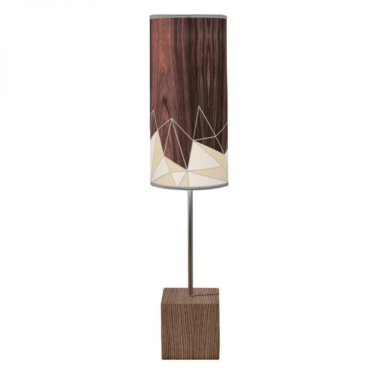 facet pattern printed shade cuboid table lamp