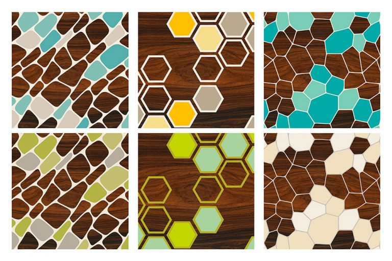 Cell Hex Geode Geometric wall art Prints Set