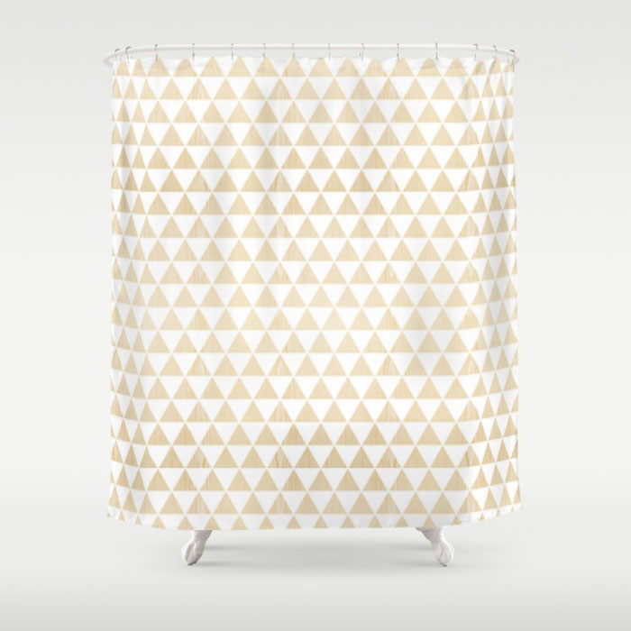 triangle white oak shower curtain