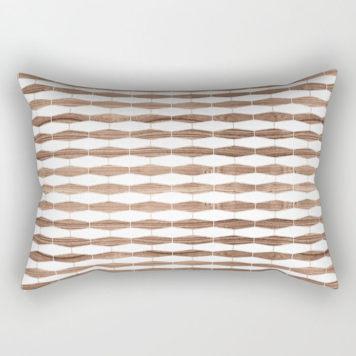 weave in walnut rectangular pillow