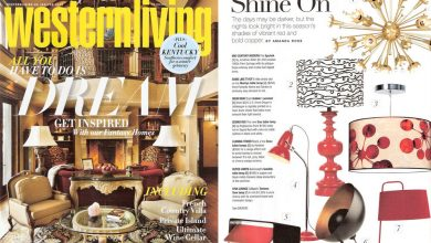 printed shade pendants in western living magazine