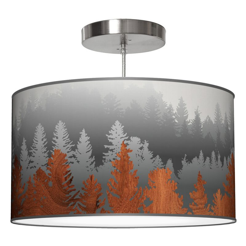 treescape printed shade drum pendant lamp black