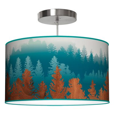 treescape printed shade drum pendant lamp blue