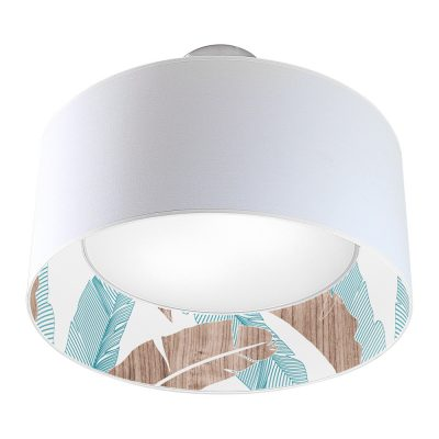 banana printed shade nest drum pendant blue
