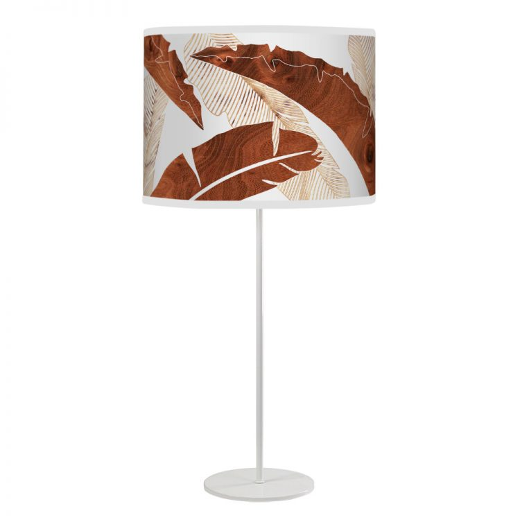 banana printed shade white tyler table lamp wood
