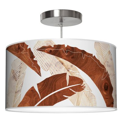 banana printed shade drum pendant lamp wood