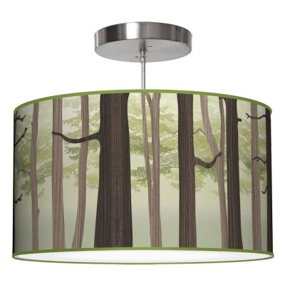 forest printed shade drum pendant lamp green
