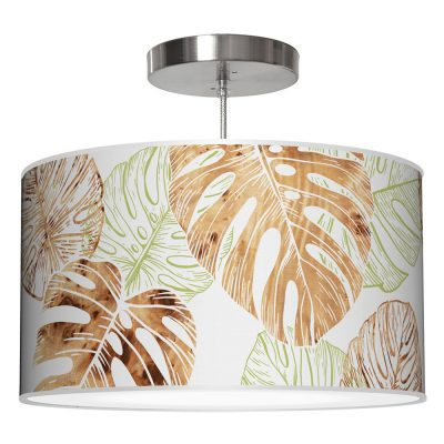 monstera printed shade drum pendant lamp green