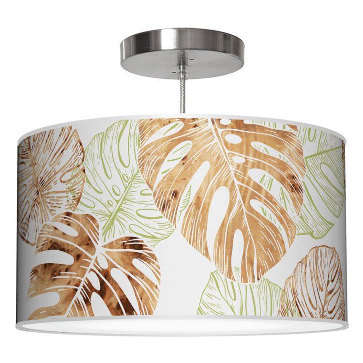 monstera printed shade drum pendant lamp green