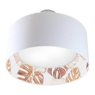monstera printed shade nest drum pendant wood
