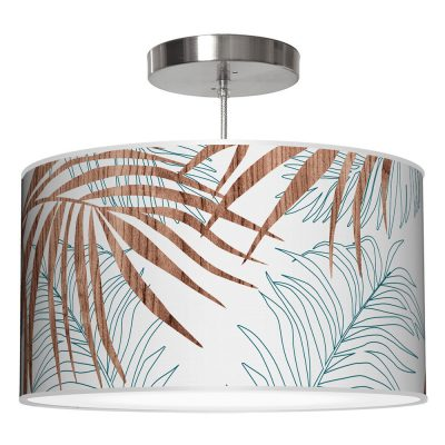 palm printed shade drum pendant lamp blue