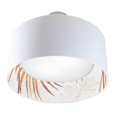 palm printed shade nest drum pendant wood
