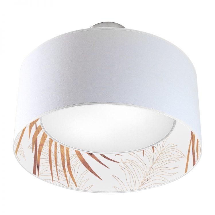palm printed shade nest drum pendant wood