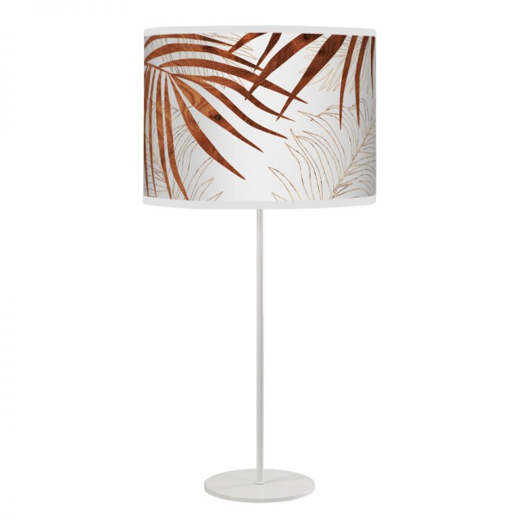 palm printed shade white tyler table lamp wood