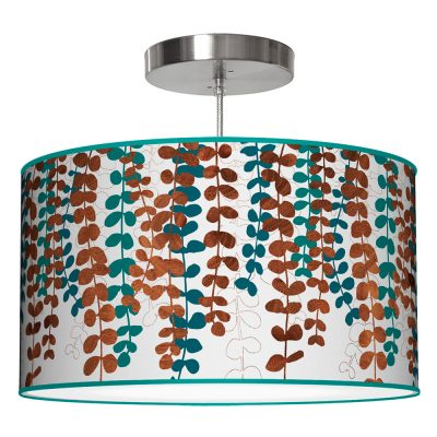 vine printed shade drum pendant lamp blue