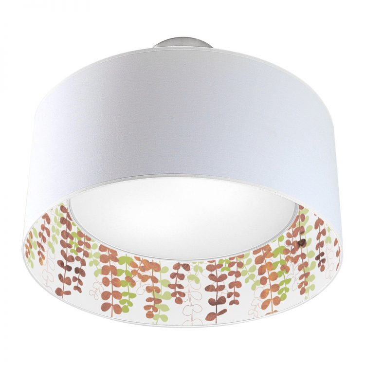 vine printed shade nest drum pendant green