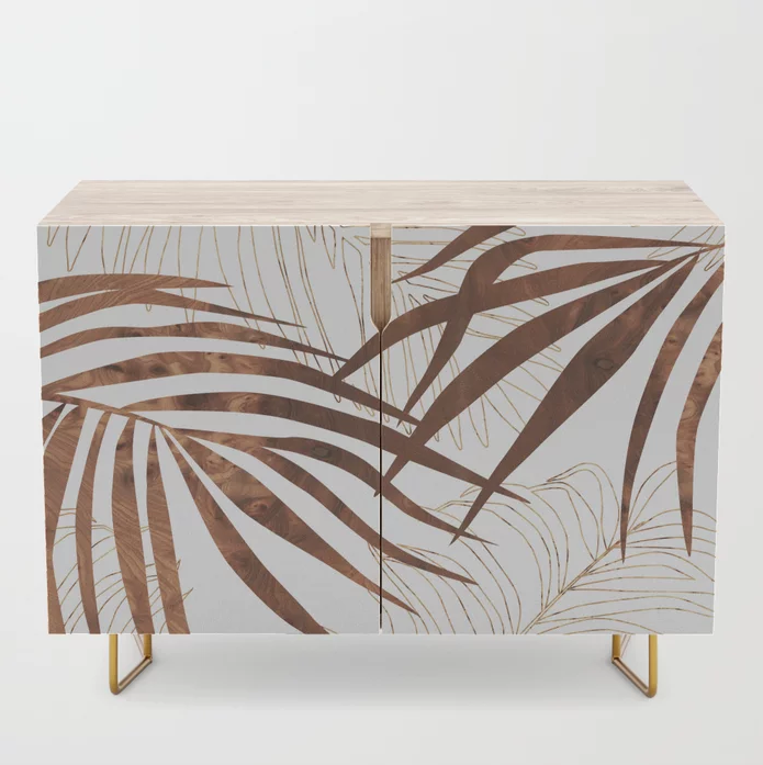 palm in wood credenza