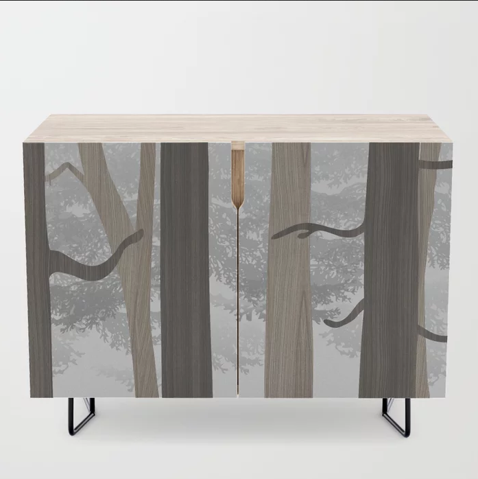 forest in wood credenza