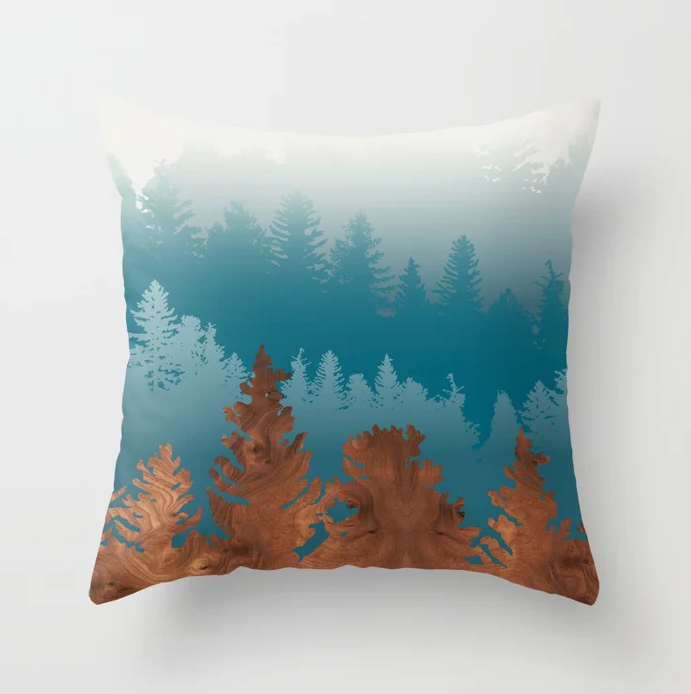 treescape in wood throw pillow