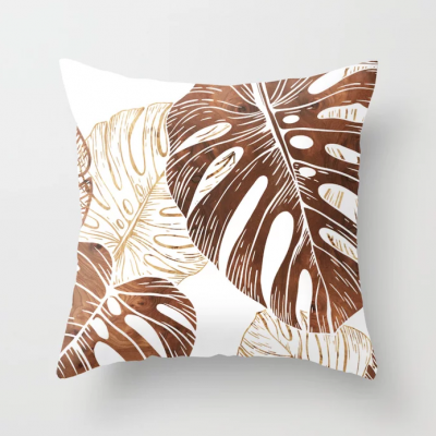monstera in wood throw pillow