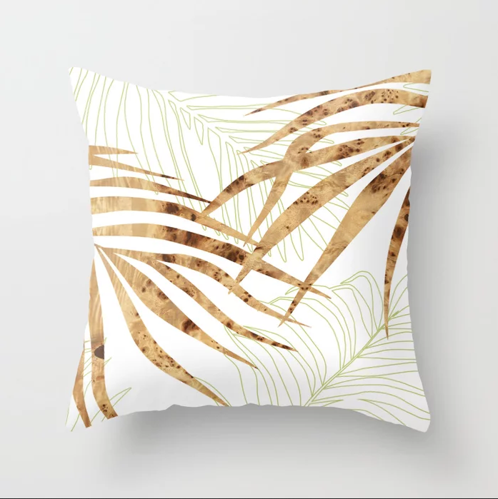 palm in wood throw pillow