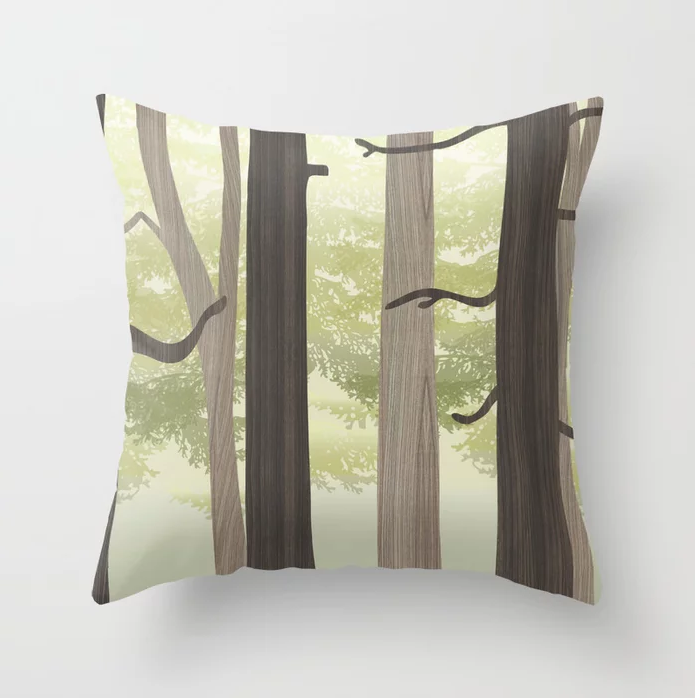 forest in wood throw pillow