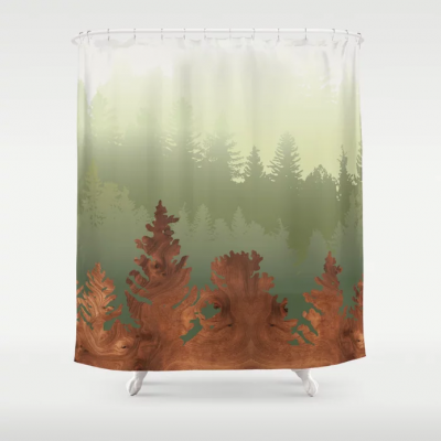 treescape pattern modern shower curtain