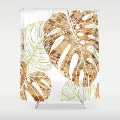 monstera pattern modern shower curtain