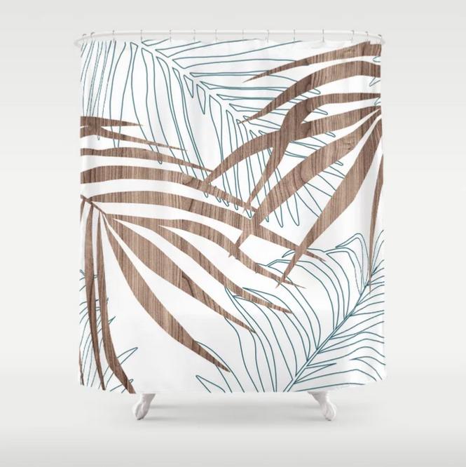palm pattern modern shower curtain