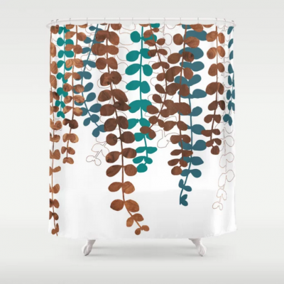 vine pattern modern shower curtain