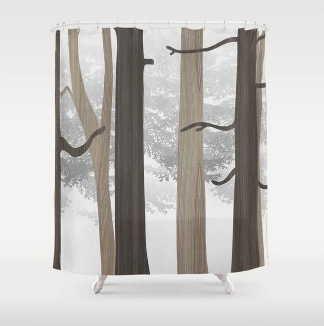 forest pattern modern shower curtain