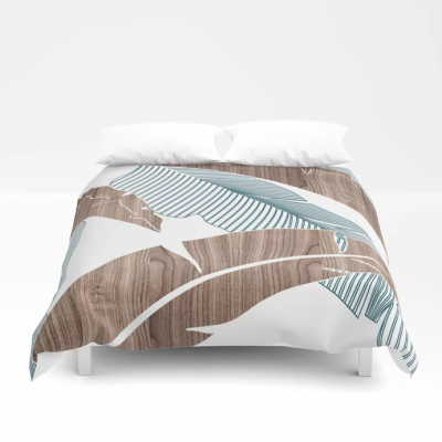 banana in wood duvet cover