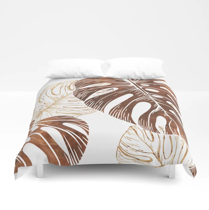 monstera in wood duvet cover