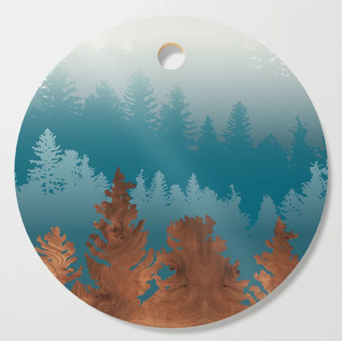 treescape in wood cutting board