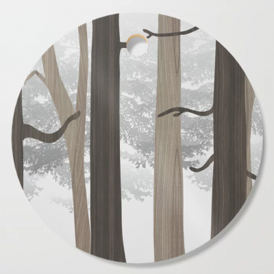 forest in wood cutting board