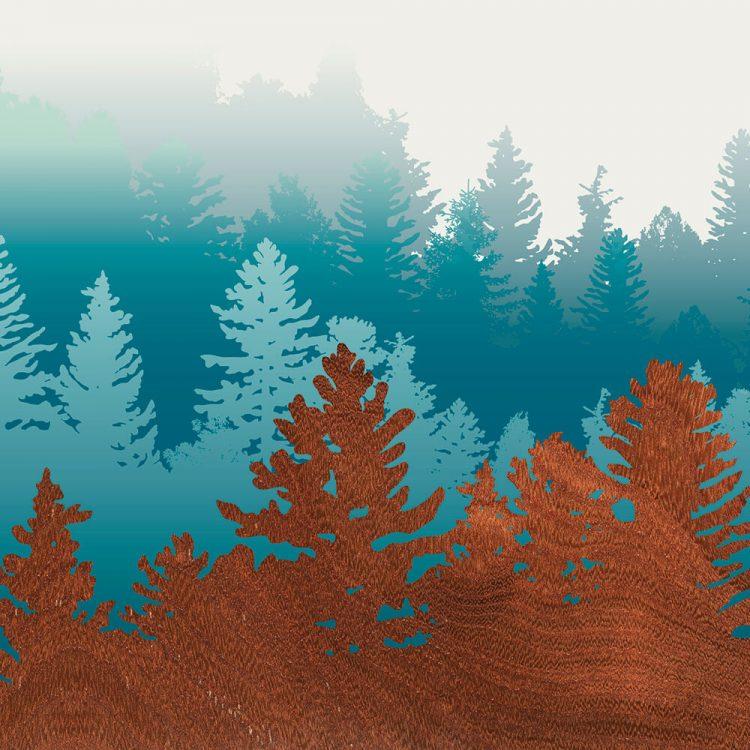 Northwest City Treescape blue wall Art Print
