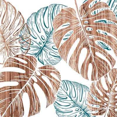 monstera blue wall Art Print