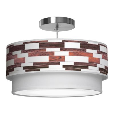 tile printed shade double tier pendant lamp rosewood