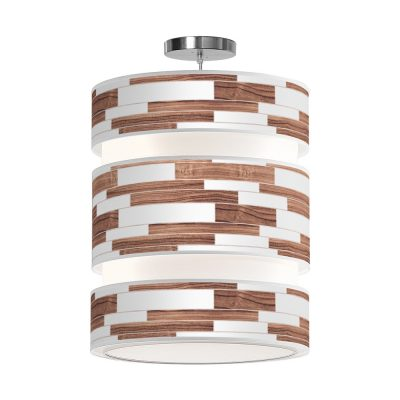 Tile triple shade pendant walnut