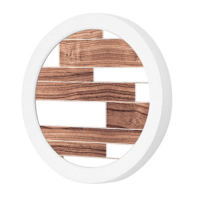 tile pattern printed led port wall sconce walnut